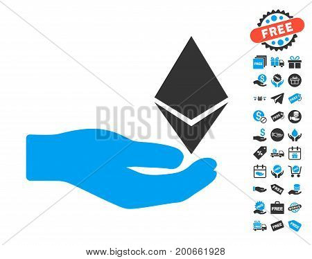 Ethereum Offer Hand pictograph with free bonus pictograph collection. Vector illustration style is flat iconic symbols.