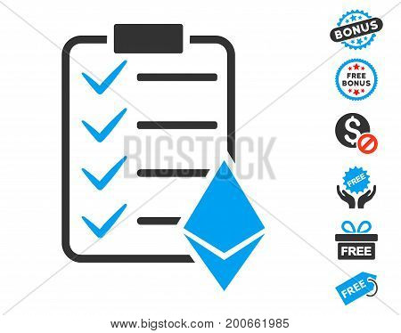 Ethereum Smart Contract pictograph with free bonus clip art. Vector illustration style is flat iconic symbols.