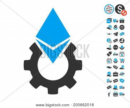 Ethereum Tools Gear pictograph with free bonus clip art. Vector illustration style is flat iconic symbols.