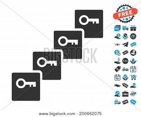 Key Blockchain pictograph with free bonus icon set. Vector illustration style is flat iconic symbols.