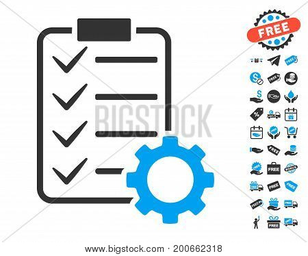 Smart Contract Gear pictograph with free bonus clip art. Vector illustration style is flat iconic symbols.