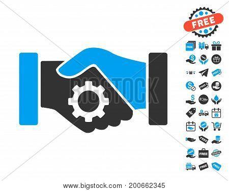 Smart Contract Handshake pictograph with free bonus symbols. Vector illustration style is flat iconic symbols.