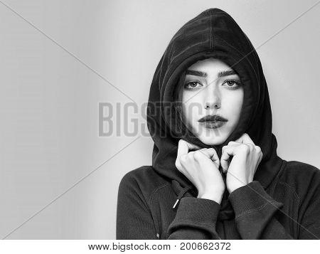 Woman Or Girl In Hood