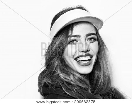 Woman With Long Hair In Sport Cap