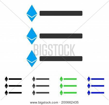 Ethereum List flat vector pictograph. Colored ethereum list, gray, black, blue, green pictogram variants. Flat icon style for graphic design.