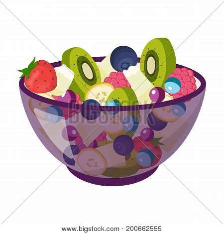 Salad from various kinds of fruit. Fruit single icon in cartoon style vector symbol stock illustration .