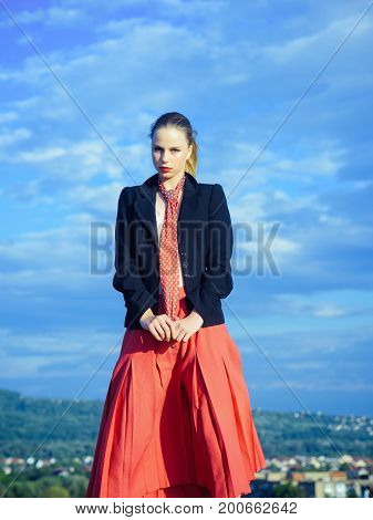 Girl Posing On Natural Background
