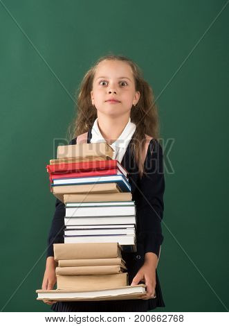 Back To School And Homework Concept. Girl In Classroom