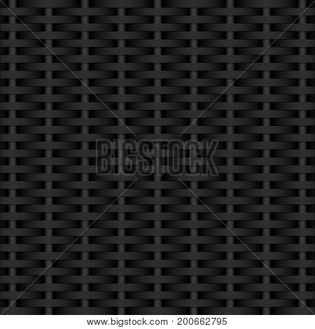 Dark gray background. Weaving black rods. Dark texture. Vector illustration