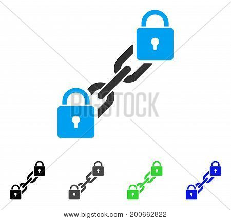 Lock Blockchain flat vector icon. Colored lock blockchain, gray, black, blue, green pictogram variants. Flat icon style for web design.