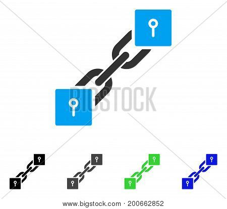 Locker Blockchain flat vector illustration. Colored locker blockchain, gray, black, blue, green icon variants. Flat icon style for application design.