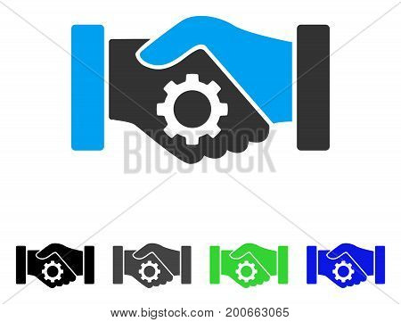 Smart Contract Handshake flat vector pictograph. Colored smart contract handshake, gray, black, blue, green pictogram versions. Flat icon style for web design.