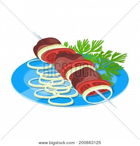Delicious food, shish kebab and salad. Food and cooking single icon in cartoon style vector symbol stock illustration .