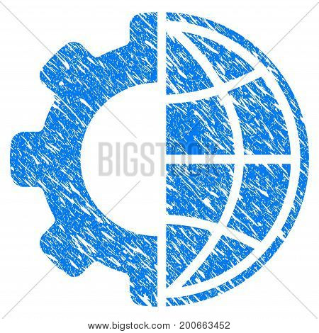 Grunge Global Options icon with grunge design and dirty texture. Unclean vector blue pictogram for rubber seal stamp imitations and watermarks. Draft sticker symbol.