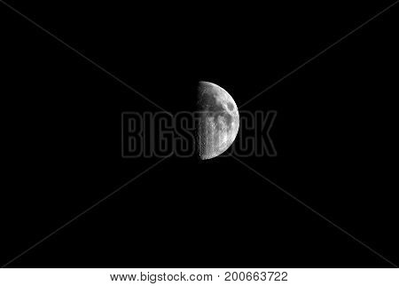 detail half moon in darkness for background