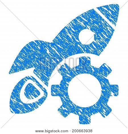 Grunge Rocket Science Options Gear icon with grunge design and unclean texture. Unclean vector blue pictogram for rubber seal stamp imitations and watermarks. Draft sticker symbol.
