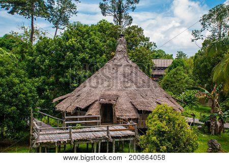 Traditional Wooden Melanau Houses. Kuching Sarawak Culture Village. Malaysia