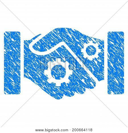 Grunge Smart Contract Handshake icon with grunge design and dust texture. Unclean vector blue pictogram for rubber seal stamp imitations and watermarks. Draft sticker symbol.