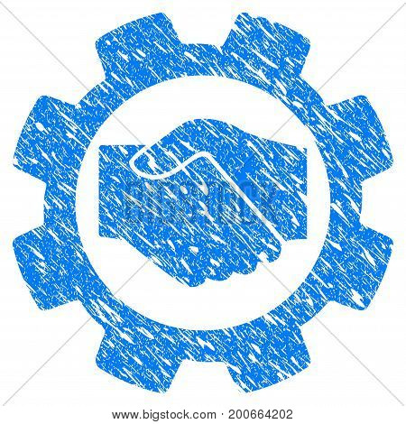Grunge Smart Contract Setup Gear icon with grunge design and dirty texture. Unclean vector blue pictogram for rubber seal stamp imitations and watermarks. Draft sign symbol.