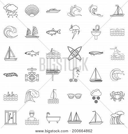 Aqua icons set. Outline style of 36 aqua vector icons for web isolated on white background