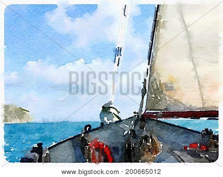 Digital watercolor painting of a ketch sailing boat in the sea with its fore sail up and the horizon in the distance taken from the deck of the boat. With space for text.