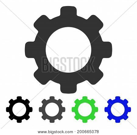 Cog flat vector pictogram. Colored cog, gray, black, blue, green pictogram versions. Flat icon style for application design.