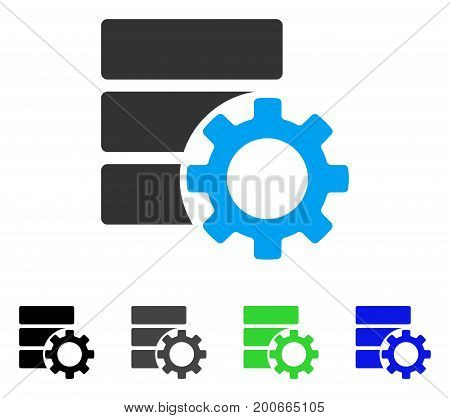 Database Options Gear flat vector icon. Colored database options gear, gray, black, blue, green icon versions. Flat icon style for application design.