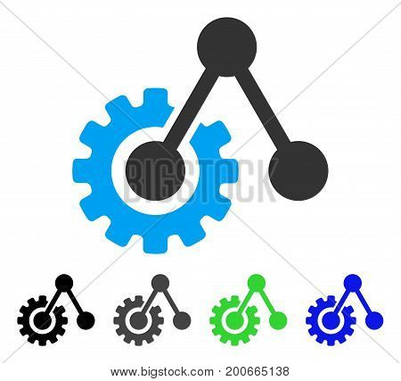 Engine Structure flat vector pictograph. Colored engine structure, gray, black, blue, green pictogram variants. Flat icon style for application design.