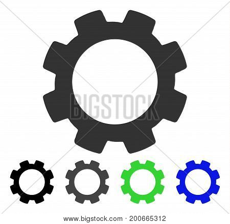 Gear flat vector pictograph. Colored gear, gray, black, blue, green pictogram versions. Flat icon style for graphic design.
