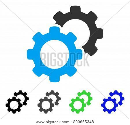 Gears flat vector pictogram. Colored gears, gray, black, blue, green pictogram variants. Flat icon style for web design.