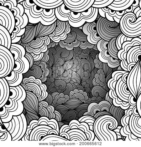 Monochrome pattern with waves and floral motifs. Texture with volumetric doodle elements. Paper art background in doodle style. Vector 3d illustration. Abstract ornate art