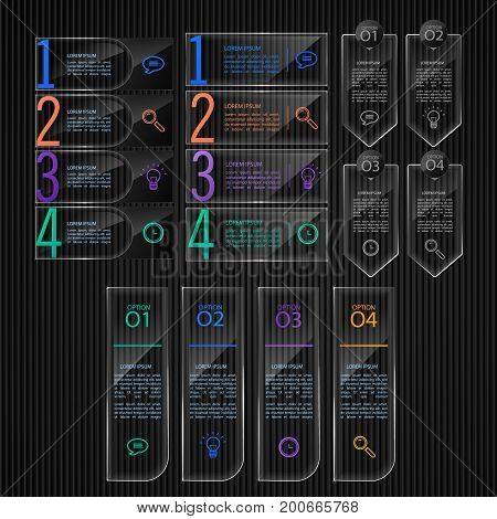 Glass banners, Set off infographic templates, vector web bars