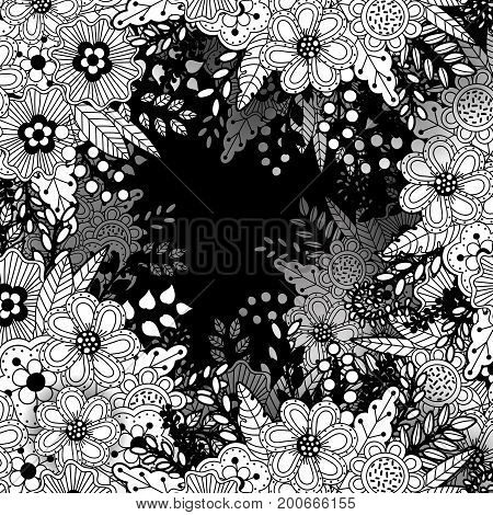 Monochrome pattern with floral motifs. Texture with flowers leaves and berries. Natural background in doodle style. Vector 3d illustration. Abstract ornate art