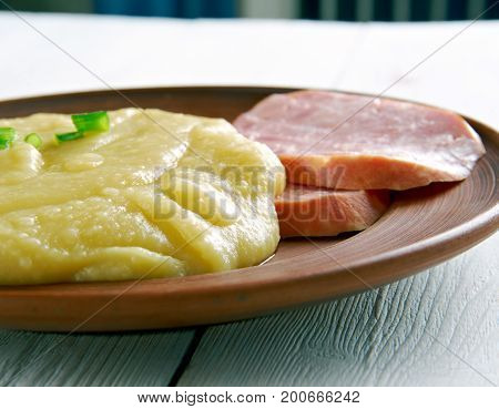 Pease pudding close up.English cuisine close up cooking  meal
