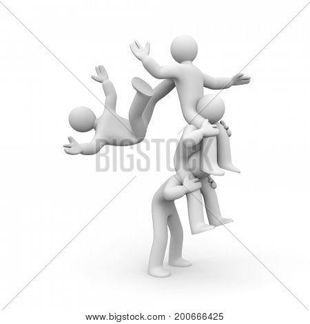 Falling of the team! 3d illustration