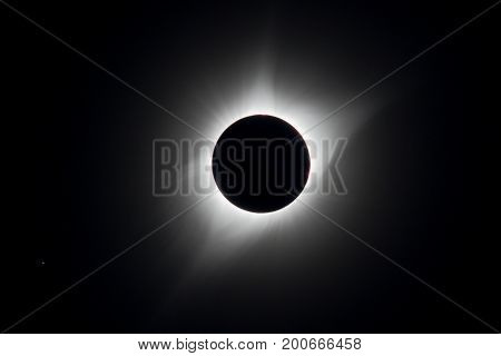 The corona is visible as the moon completely covers the sun during the total eclipse USA 2017