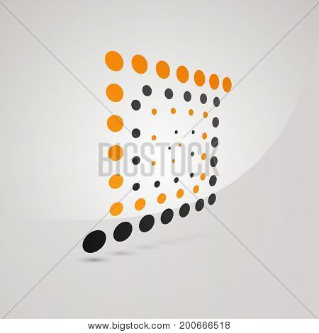 Unusual logo of square with orange and dark gray dots. Spiral logotype in perspective on white background