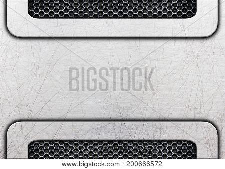 Shiny Distressed Metal Frame On Grunge Background, 3D, Illustration