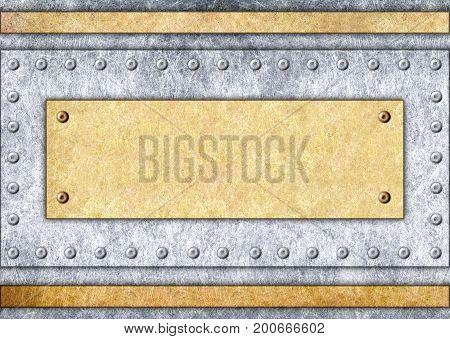 Metal Signboard, Bronze Or Brass Frame, Background, 3D, Illustration