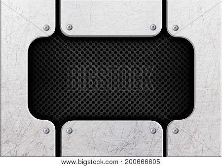 Steel Black Mesh On A Background Of Metal Bars, 3D, Illustration
