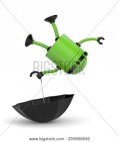 The robot with the umbrella! 3d illustration