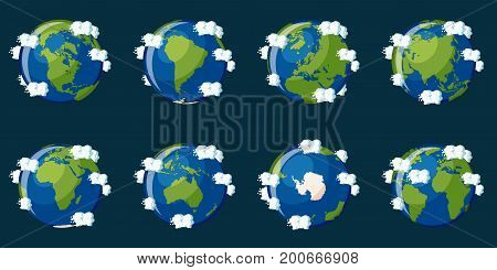 Set of globes showing the planet Earth with different continents and clouds around on dark blue background. Cartoon vector illustration in flat style