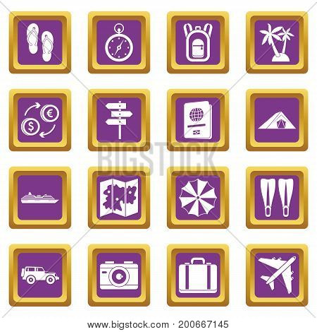 Travel icons set in purple color isolated vector illustration for web and any design