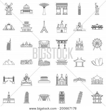 Architecture icons set. Outline style of 36 architecture vector icons for web isolated on white background