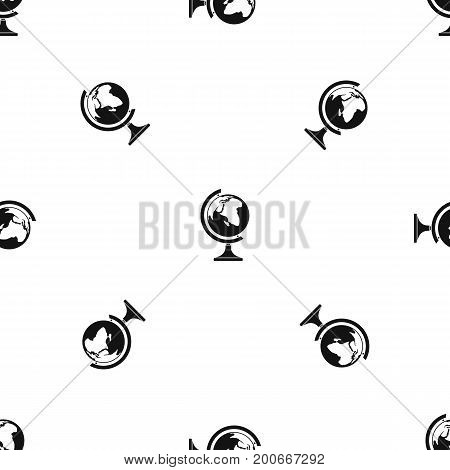 Globe pattern repeat seamless in black color for any design. Vector geometric illustration