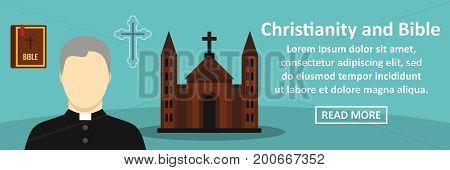Christianity and bible banner horizontal concept. Flat illustration of christianity and bible banner horizontal vector concept for web