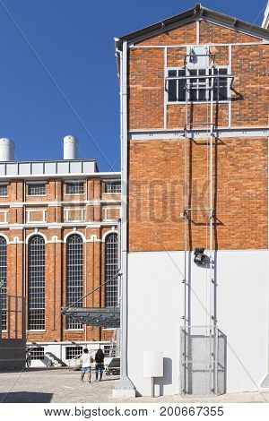Buildings of the old factory of electric lighting in Lisbon Portugal