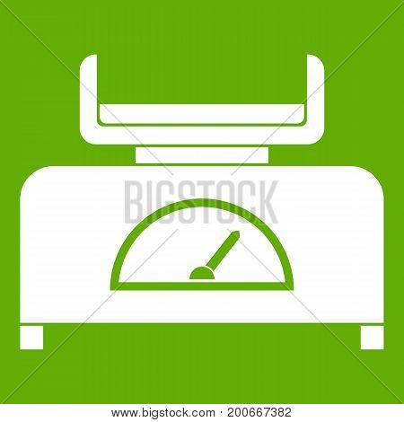 Weight scale icon white isolated on green background. Vector illustration