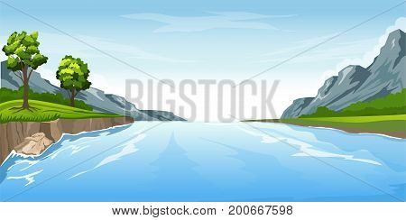 River in the mountains, mountain peak in the background