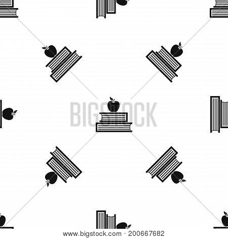 Books and apple pattern repeat seamless in black color for any design. Vector geometric illustration